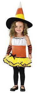 Halloween Toddler Candy Corn Witch Dress Costume Size 24 months/2T NW