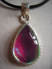 Very Pretty! Large Mystic Topaz 925 Sterling Silver HOMOLOGUE necklace