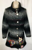 Womens Wool Mix Coat Sz S By Dy Design Floral Embroidery