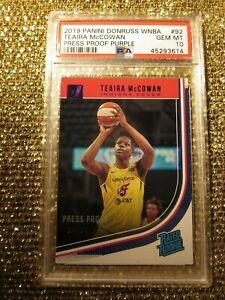Teaira McCowan Indiana Fever 2019 WNBA panini Press Proof 16/99 PSA 10 rookie
