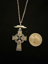 Silver Tone Wing Celtic Cross #2 necklace or earrings stainless steel #1