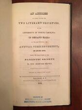 RARE 1839 Patriotic Address Literary Societies University North Carolina Raleigh