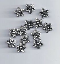 10 Pcs Antique Silver Flower Spacer Beads 15mm  (93)