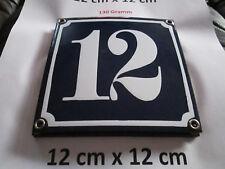 Hausnummer Emaille Nr. 12 weisse Zahl auf blauem Hintergrund 12 cm x 12 cm