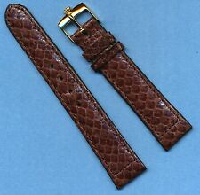 Rolex Gold Buckle & 20mm Genuine Dark Brown Snake Skin Strap Band For Datejust