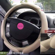 "Beige Warm Suede Universal Car Steering Wheel Cover Protector 38cm 15"""