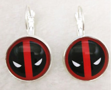 NEW Deadpool personality Red and Black  Glass cabochon  Silver Earrings Jewelry