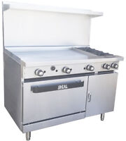 "New. Commercial 48"" Range with 2 Burners & 36"" Griddle. Made in USA by Ideal"