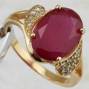 Size 7 8 9 Super Red Ruby Oval Jewelry Rose Gold Filled Woman Gift Ring R2349