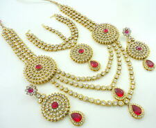 SALE RANI CZ GOLD TONE RANI HAAR LONG NECKLACE SET BOLLYWOOD BRIDAL JEWELRY