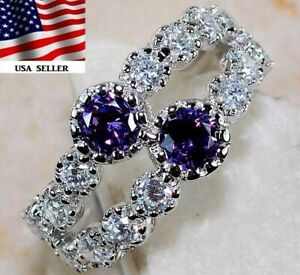 2CT Amethyst & White Topaz 925 Solid Sterling Silver Ring Jewelry Sz 6, M2