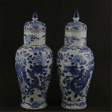 CHINESE OLD PAIR BLUE AND WHITE DRAGON PEONY PATTERN PORCELAIN TEMPLE JARS