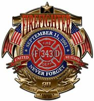"FIREFIGHTER NEVER FORGET 343 SEPT 11TH 2001 16"" HEAVY DUTY USA MADE METAL SIGN"