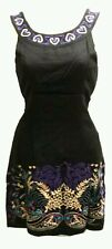 NEW Free People Anthropologie Black Embroidered Felted Wool Sheath Mini Dress 6