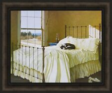 LAZY AFTERNOON by Zhen-Huan Lu 19x24 Cat Nap Sleeping Bed FRAMED PICTURE HCD
