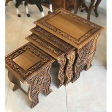 Walnut Carved Nesting Tables - Set of 4