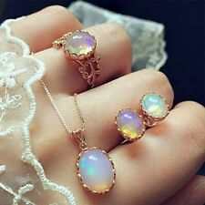 Women Moonstone Ring+Earrings+Necklace Stainless Steel Chain Jewelry Set Gifts