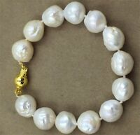 Natural Loose 12-14MM HUGE baroque south sea pearl  bracelet Mesmerizing aurora