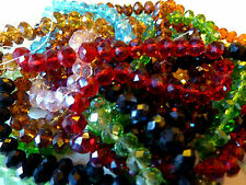 100  Rondelle Glass Beads 6mm x 8mm Mixed Lots Selection of Colours