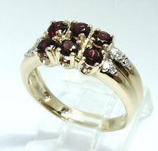 Diamond garnet ring 14K yellow gold round brilliant 1.30CT 5.1 GM 2 row sz 7 3/4