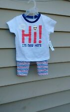 OLD NAVY GIRLS GRAPHI TEE  PANT SET 12-18 MONTHS  MULTI-COLOR COTTON BLEND