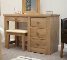 Kingston solid modern oak bedroom furniture dressing table with stool