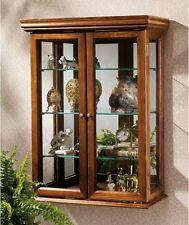 NEW Solid Wood Wall  Mirrored Curio Cabinet Double Door China Hutch Display Case