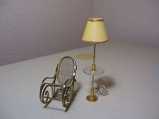 "Vintage Doll House Furniture Metal Rocking Chair & Lamp 5"""
