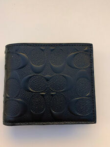 Coach F75371 Men Compact ID 3 in 1 Wallet Bifold Embossed Leather Black