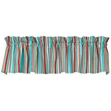 HAMPTON COVE Coastal Stripe Cotton Window Valance Turquoise, White, Red, Brown