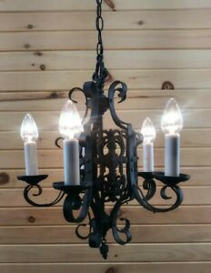 Vtg Gothic Swag Chandelier Medieval Spanish Style Metal 5 Light Fixture