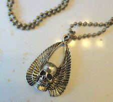 vintage Skull wings Necklace 70s 80s Pendant brass ball chain biker Men
