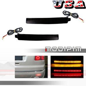 Smoke Bumper Reflectors Brake Signal LED Lights For 2009-2012 Chevrolet Traverse