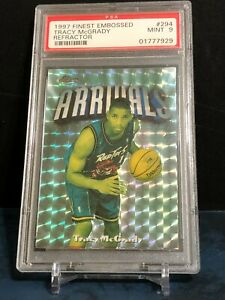 PSA 9 Tracy McGrady 1997-98 Finest Silver Embosseed Refractor RC #294 262/263