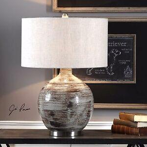 "URBAN MODERN 28"" TEXTURED CERAMIC TABLE LAMP BRUSHED NICKEL METAL UTTERMOST"