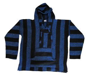 Vintage Blue Black Drug Rug Pancho Mexican Blanket Hoodie Surfer Baja Size XL