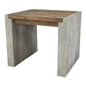 "26"" W Madison End Table Contemporary Concrete Laminate Rustic Reclaimed Pine"