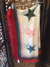 Zadig & Voltaire Star Scarf, NWT, Multi, W/ Distressed edges *Free Shipping*