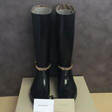 NEW, Genuine Burberry Ebersole Knee-High Buckled Rainboots in Black