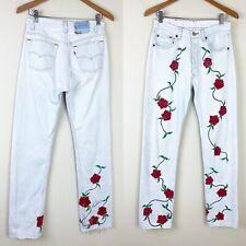*THRASHED* VTG LEVIS 501 Rose Painted Denim Jeans 29x34 ACTUAL Bleached Floral