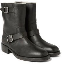 MAISON MARGIELA SHEARLING-LINED GRAINED-LEATHER BIKER BOOTS SIZE 11, MSRP $1175