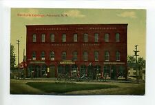 Penacook NH Merchants Exchange, people, horse, wagon, stores, antique postcard