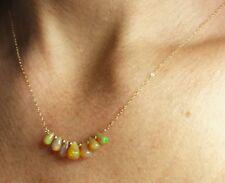 Genuine green orange red Ethiopian Opal pear briolette 14k gold pendant necklace