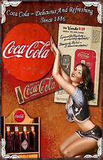 coca-Cola 30 X 20 Vintage Plaque  Pin'Up Sexy Métal rétro Publicitaire Coke