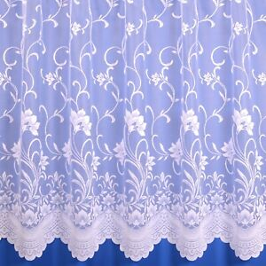 Ella Floral Scalloped Lace Net Curtain Finished In White - Various Widths/Drops