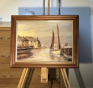 Harbour scene - Oil on canvas board, signed Hartman.