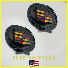 2x Beautiful Cadillac Cadi Gloss Glossy Black Crest 4in Emblem Badge Decal Crown