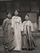 1929 KOREA Original Photo Gravure KOREAN CHILDREN GIRLS Costume Art By HURLIMANN
