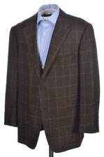 D'AVENZA Recent Brown Houndstooth Check WOOL MOHAIR Blazer Sport Coat - 44 R