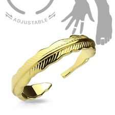 or Toe Ring (Choose Color) Adjustable Rhodium Plated Feather Mid-Ring